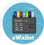 Cryptocurrency wallet concept in line art style. Crypto currencies wallet trendy concept in line art style. Banking and finance, digital money and blockchain Stock Photos
