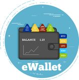 Cryptocurrency wallet concept in line art style. Crypto currencies wallet trendy concept in line art style. Banking and finance, digital money and blockchain Stock Images