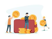 Cryptocurrency wallet. Flat design style web banner of blockchain technology, bitcoin and altcoins cryptocurrency mining. Finance digital money market Royalty Free Stock Photo