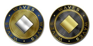 Cryptocurrency WAVES coin Stock Image