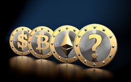 Cryptocurrency - What is the next BIG thing? - 3D Rendering Stock Images