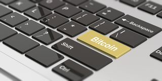 Cryptocurrency. Word bitcoin on the golden enter key of a laptop. 3d illustration. Cryptocurrency concept. Word bitcoin on the golden enter key of a modern Royalty Free Stock Images