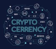 Cryptocurrency Word Concept with cryptocurrency sign and finance sign link connection abstract thin line style Vector Illustration. Design Stock Image