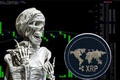 Cryptocurrency XRP da moeda e skeletonon uma carta do fundo foto de stock royalty free