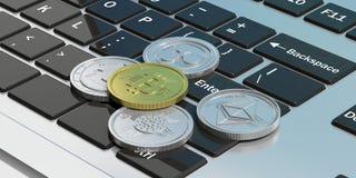 Cryptocurrency Złoty bitcoin i rozmaitość srebne wirtualne monety na laptopie ilustracja 3 d royalty ilustracja
