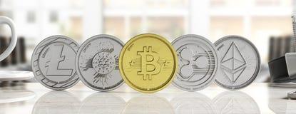 Cryptocurrency Złoty bitcoin i rozmaitość srebne wirtualne monety na plamy tle, sztandar, frontowy widok ilustracja 3 d royalty ilustracja