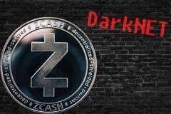 Cryptocurrency zcash ZEC νομισμάτων και μαύρος τοίχος τούβλων Darknet στοκ φωτογραφία με δικαίωμα ελεύθερης χρήσης