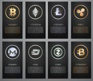 Cryptocurrency, Zwarte banner Stock Afbeelding