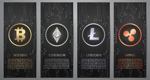 Cryptocurrency, Zwarte banner Stock Foto's