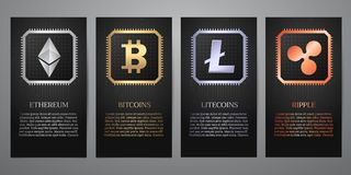 Cryptocurrency, Zwarte banner Stock Foto