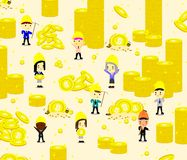 Cryptocurrencyachtergrond met arbeider royalty-vrije illustratie