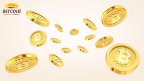 Cryptocurrencyconcept of elektronische betalingen Vectortechnologie 3d illustratie Realistische gouden muntstukkenexplosie of Royalty-vrije Stock Foto's