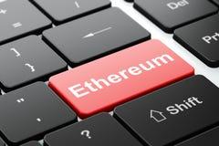 Cryptocurrencyconcept: Ethereum op de achtergrond van het computertoetsenbord Royalty-vrije Stock Foto