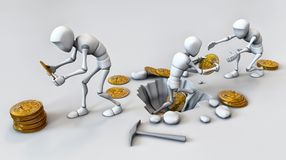 Cryptocurrencyconcept met mijnwerker en muntstukken Het werken in bitcoin Stock Foto