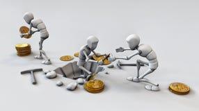 Cryptocurrencyconcept met mijnwerker en muntstukken Het werken in bitcoin Royalty-vrije Stock Foto's