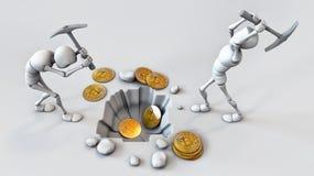 Cryptocurrencyconcept met mijnwerker en muntstukken Het werken in bitcoinmijn Stock Fotografie