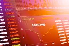 Cryptocurrencyeffectenbeurs handelgrafiek BTC ETH met filter EF Stock Foto's