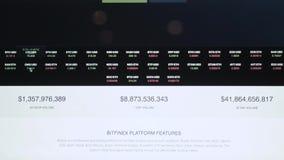 Cryptocurrencygrafiek op donker laptop het schermclose-up Bitcoin het grafische uitgaan, litecoin de grafiek van de etheriumgroei stock footage