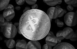 Cryptocurrencyillustratie van het Bitcoin zilveren muntstuk Royalty-vrije Stock Foto