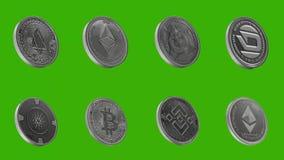Cryptocurrencymuntstukken in zilver, EOSS, ETHEREUM-SCHRIJVER UIT DE KLASSIEKE OUDHEID, DOGE, STREEPJE, CARDANO, BITCOIN, BINANCE royalty-vrije illustratie