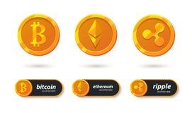 Cryptocurrencypictogram Royalty-vrije Stock Afbeeldingen