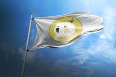 Cryptocurrencypictogram van de Dogecoindoge op vlag stock afbeeldingen