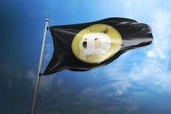 Cryptocurrencypictogram van de Dogecoindoge op vlag royalty-vrije stock fotografie