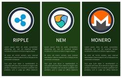 Cryptocurrencytekens binnen de Affiches van Cirkelspromo stock illustratie