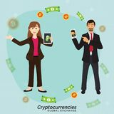 Cryptocurriencies, global exchange concept. Royalty Free Stock Photography