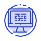 Cryptografie, Gegevens, Ddos, Encryptie, Informatie, de Lijnpictogram van de Probleem Blauw Gestippelde Lijn stock illustratie