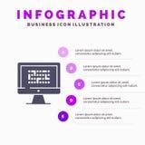 Cryptografie, Gegevens, Ddos, Encryptie, Informatie, Probleem Stevig Pictogram Infographics 5 de Achtergrond van de Stappenpresen royalty-vrije illustratie