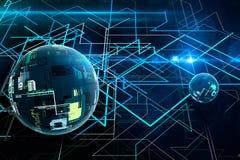 Cryptographie 3D abstraite et grande boule de données Technologie des communications moderne Ligne fond image libre de droits