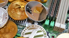 Cryptography Coins Bitcoin, Litecoin and Ethereum