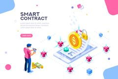 Smart Contract Cryptography Concept Template. Cryptography infographics, contract concept. Contractor develop payment deal. Pay chain to block document for trade stock illustration