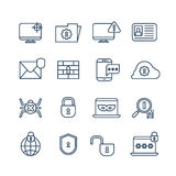 Cryptography, internet security and biometric protection outline vector icons Stock Images