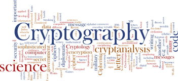 Cryptography word cloud Stock Images