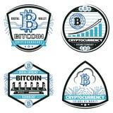 Cryptos emblèmes de devise colorés par vintage réglés Photos stock