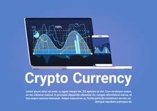 Cryptos graphiques d'argent de Bitcoin Digital de concept de devise sur la bannière de Web d'ordinateur portable Photographie stock libre de droits