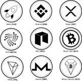 Cryptos pièces de monnaie réglées Crypto devise Argent liquide de Bitcoin, diamant de Bitcoin, stellaire, ondulation, iota, Tron, illustration libre de droits