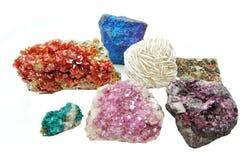 Cryst för erythrite för vanadinite för Celestitekvartsaragonite geologisk Arkivfoto
