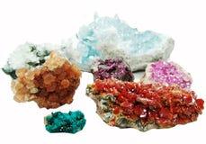 Cryst för erythrite för vanadinite för Celestitekvartsaragonite geologisk Arkivfoton
