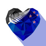 Crysta jewelry New Zealand`s heart with the flag of New Zealand, silver fern. Stock Photo