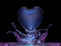 Crystal 3d heart made water Royalty Free Stock Image