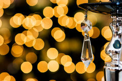 Crystal. Transparent crystal and xmas lights as background Royalty Free Stock Images