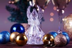 Crystal Angel en el fondo de las bolas de la Navidad Año Nuevo Fotografía de archivo libre de regalías