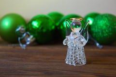 Crystal Angel sur le fond des boules de Noël cristmas décembre Images libres de droits