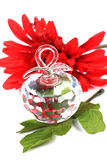 Crystal apple. Beautiful shot of sacred crystal apple with flower and leaf Royalty Free Stock Images