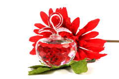 Crystal apple. Beautiful shot of sacred crystal apple with flower and leaf Stock Photography