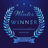 2019 crystal awards prize cup. Winter awards logotype design. Isolated elegant abstract nominee emblem. First, second place winner 2019. Luxurious congratulating royalty free illustration