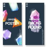 Crystal background set of banners vector illustration. 3d abstract shape with shiny and glossy jewellery stone for. Advertisement, greeting and invitation cards vector illustration